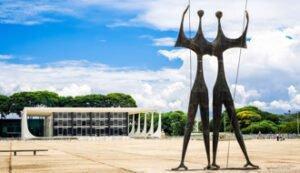 Brasilia, Brazil - November 18, 2015: View of Dois Candangos monument, built by Brazilian sculptor Bruno Giorgi in 1959 at Three Powers Square in Brasilia, capital of Brazil.
